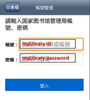 Login using myLibrary ID and password