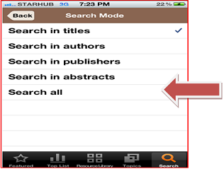 Display search mode list
