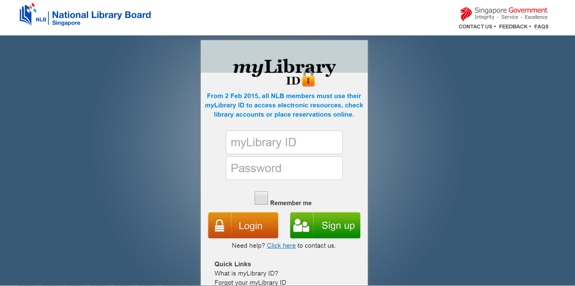 Login with myLibrary ID and password