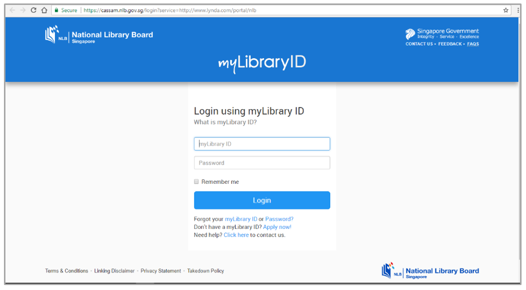 Login using NLB myLibrary ID