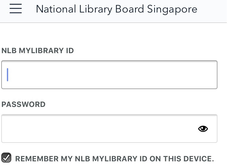 NLB myLibrary ID and Password login